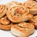 yeast pastry with apple, almonds and pistachios
