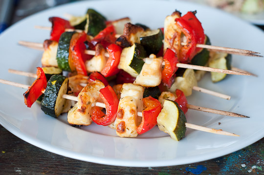 halloumi vegetable skewers