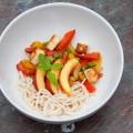 tofu mit fenchel, paprika und nektarinen
