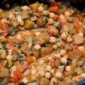 palak baingan aur channa – spinat, auberginen, tomaten und kichererbsen