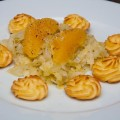 geschmorter orangen-spitzkohl mit herzoginkartoffeln