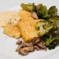 zuckermais-polenta mit brokkoli und champignons